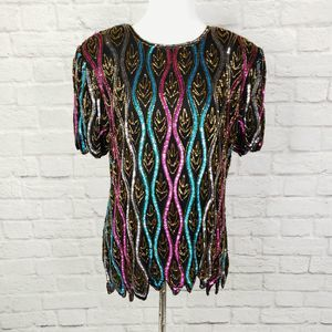 Papell Boutique Black Silk Pink Blue Sequin Top